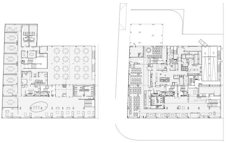Baños Vestidores Empleados:La planta superior retranqueada aberga un spa y un gimnasio